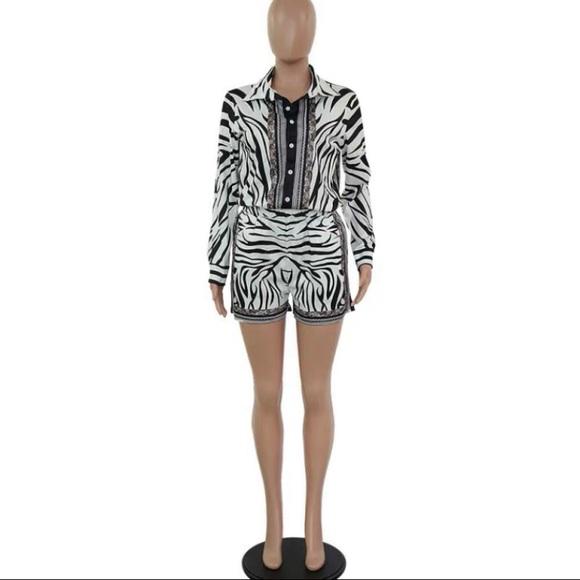 Tops - Zebra Print Shirt and Short set
